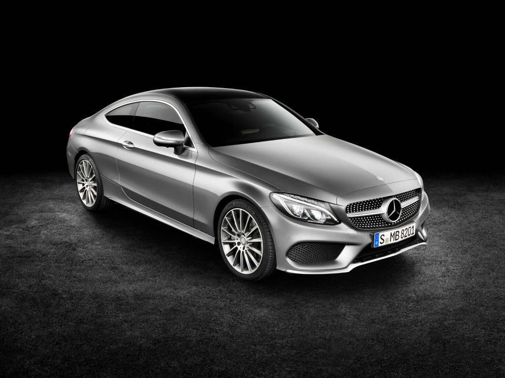 2017 Mercedes-Benz C-Class Coupe official release silver exterior front angle