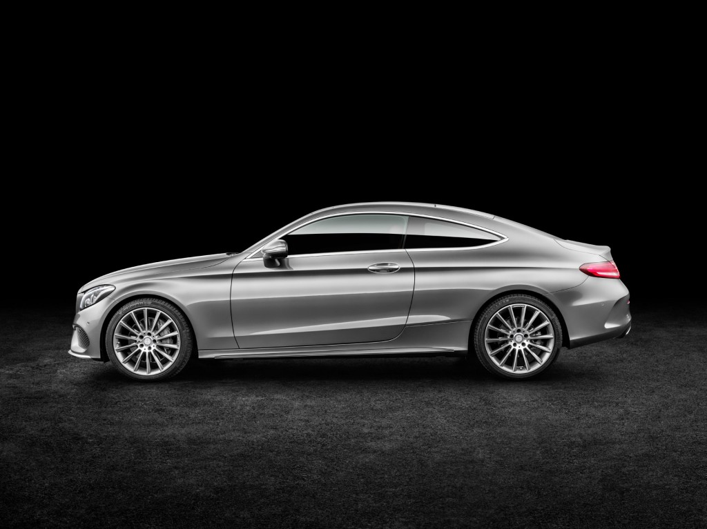2017 Mercedes-Benz C-Class Coupe official release silver exterior side profile view